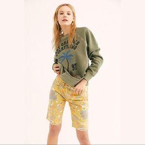 FREE PEOPLE $88 Alania Banana Floral Print Shorts